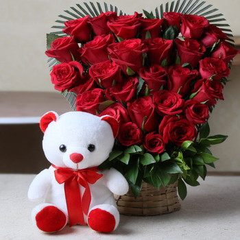 Heart Shape Arrangement of Roses with Teddy