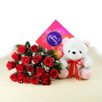 Soft Toy with Celebration Chocolates and Red Roses