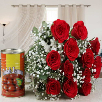 Delicious Gulab Jamun with Red Roses Bouquet Combo