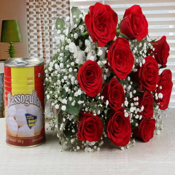 Charming Red Roses Bouquet with Rasgulla Combo