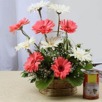 Rasgulla with Gerberas Flowers Arrangement