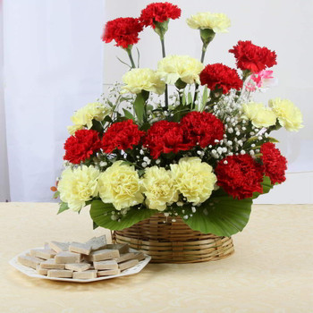 Kaju Katli Sweets with Carnation Arrangement