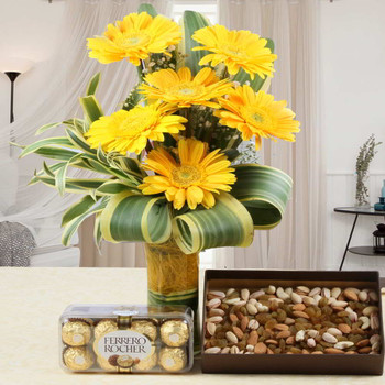 Dry Fruits and Ferrero Rocher Chocolates with Gerberas Bouquet