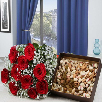 Delightful Red Roses Bouquet with Mixed Dryfruits