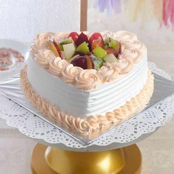 One Kg Heart Shape Fresh Fruit Cake Treat