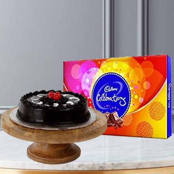 Half Kg Chocolate Cake With Cadbury Celebration Pack