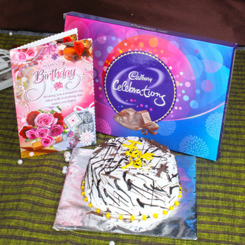 Vanilla Cake and Celebration Pack with Birthday Greeting Card