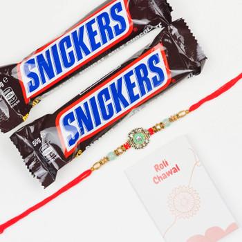 Beautiful Rakhi & Snickers Chocolates -For UAE