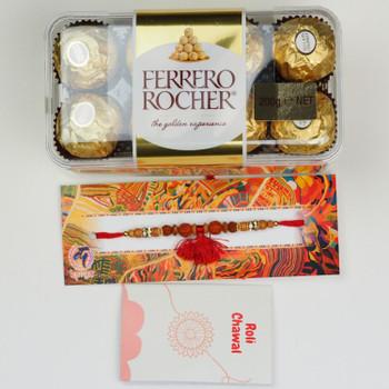 Rudraksh Rakhi With Ferrero Rocher Chocolate -For UAE