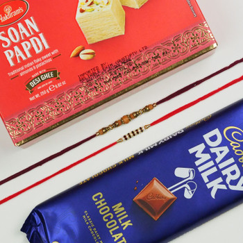 Two Classic Rakhi With Soan Papdi and Chocolate -For UAE