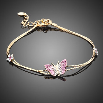 18K Real Gold Plated SWA ELEMENTS Austrian Crystal Butterfly and Flower Charm Bhabhi Rakhi