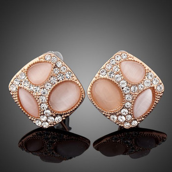 The Cat's Three Eyes Rose Gold Plated Clear Stellux Austrian Crystals Stud Earrings