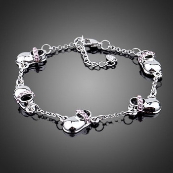Five Lovely Children's Shoes White Gold Plated SWA Element Austrian Crystal Bracelet