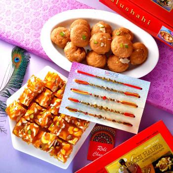 5 Rakhi Set With Karachi Halwa & Balushahi - For India