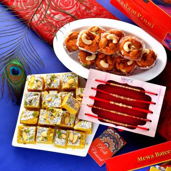 5 Rakhi Set With Badam Pinni & Mewa Batisa - For India