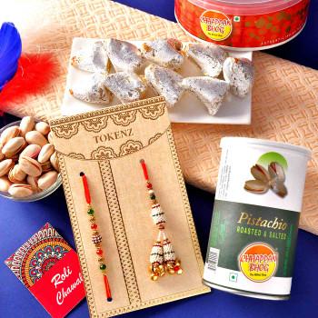 Bhaiya Bhabhi Rakhi With Kaju Samosa & Pistachios - For India