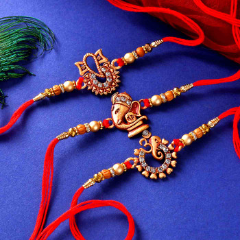 3 Rakhi Set With Mewa Bites Sweet & Pooja Thali - For India