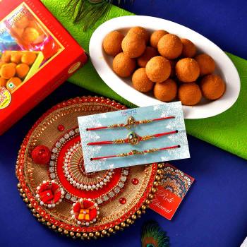 3 Rakhi Set With Besan Laddu & Pooja Thali - For India