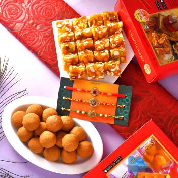 3 Rakhi Set With Karachi Halwa & Besan Laddu - For India