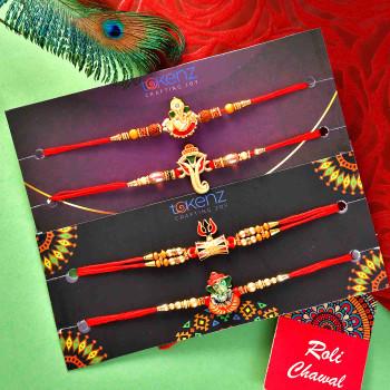 4 Rakhi Set With Mewa Bite & Kesa Peda - For India