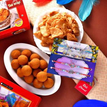 4 Rakhi Set With Besan Laddu & Mini Suhal - For India