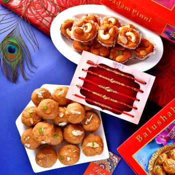 5 Rakhi Set With Badam Pinni & Balushahi - For India