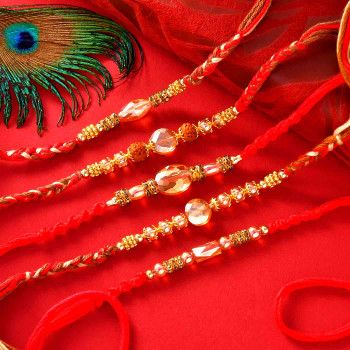 5 Rakhi Set With Kaju Barfi & Kesar Peda - For India