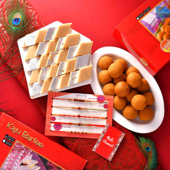 5 Rakhi Set With Kaju Barfi & Besan Ladoo -For India