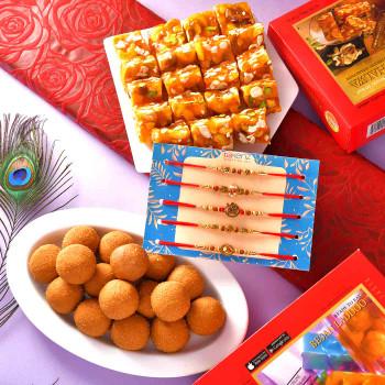 5 Rakhi Set With Karachi Halwa & Besan Ladoo - For India