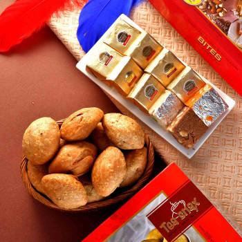 5 Rakhi & Sweet Salted Thali Hamper - For India