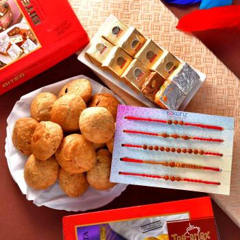 5 Rakhi Set With Mewa Bites & Mini Khasta - For India