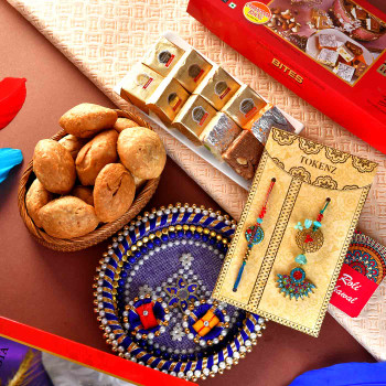 Bhaiya Bhabhi Rakhi With Mewa Bites Mini Khasta & Pooja Thali - For India