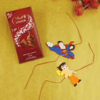 Two Kids Rakhi With Chocolate Bar - For Canada