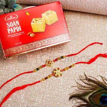 Fancy Golden Pattern Rakhi Set Hamper - For Canada