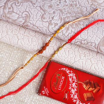 Beads Golden Rudraksha Rakhi with Chocolate - For Canada