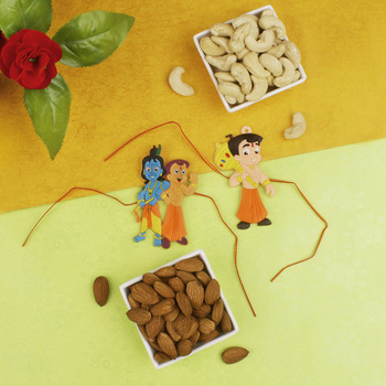 Two Kids Rakhi with Dry Fruit Hamper - For Canada