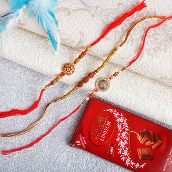Premium Round Dial Rakhi Set With Lindt Chocolate - For Canada