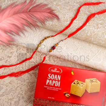 Golden Beads Rakhi Set With Soan Papdi - For Canada
