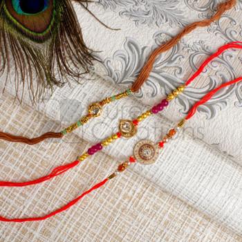 Embellished Round Dial Rakhi Set- For Canada