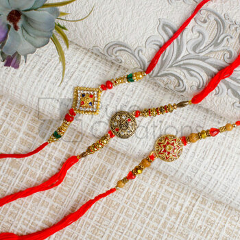 Three Alluring Round Dial Rakhi Set - For Canada