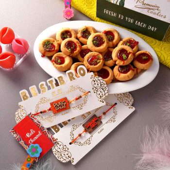 Set Of Two Best Bro Rakhis With Jam Cookies - For India