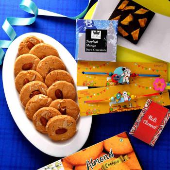 Astronauts Kids Rakhi Set With Almond Cookies & Lariene Chocolate - For India
