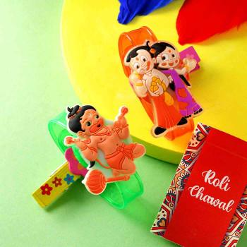 Cartoon Kids Rakhi Set With Dryfruit Cookies - For India