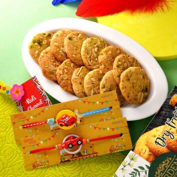 Cartoon Car Kids Rakhi Set With Almond Cookies - For India