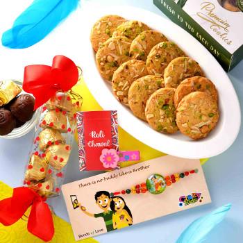 Beautiful Cartoon Beads Rakhi With Cookies & Assorted chocolate - For India