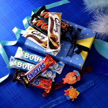 Ganesha & Chota Bhem Kids Rakhi Set With Chocolate Hamper - For India