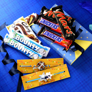 Cartoon Aeroplane Kids Rakhi Set With Chocolate Hamper - For India
