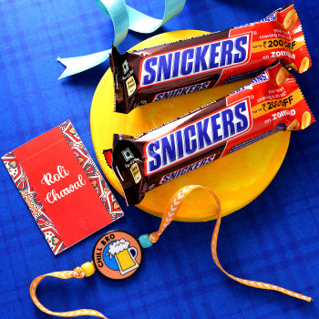 Chill Bro Rakhi With Snickers Chocolate Bars - For India
