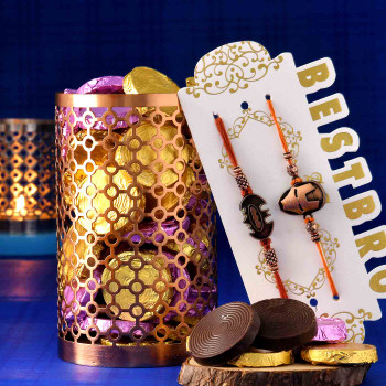 Superhero Kids Rakhi Set Of Two With Handmade Assorted chocolate Box & Perforated Vases - For India