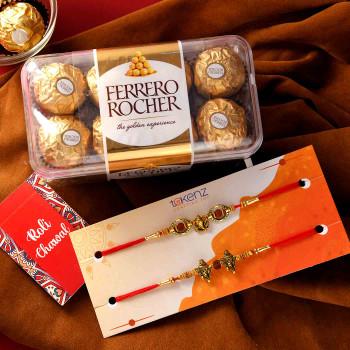 Devine Set Of Two Rakhis With Ferrero Rocher - For India